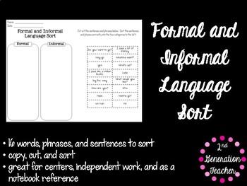 Formal and Informal Language Sort