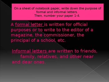 Formal and Informal Letters - Practice