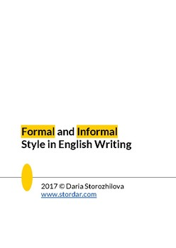 Formal and Informal Style in English Writing