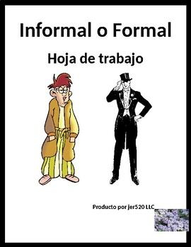 Formale o Informale Familiar vs Formal in Spanish worksheet 2