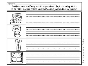 Sentence to Picture Match in Spanish and  Interactive Notebook