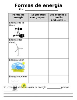 Formas de energía/ Forms of Energy Worksheet in Spanish
