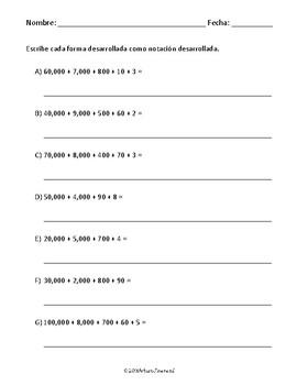 Formas desarrollada y estándar, con notación desarrollada.
