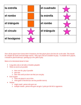 Colores y Formas (Colors and Shapes in Spanish) Dominoes
