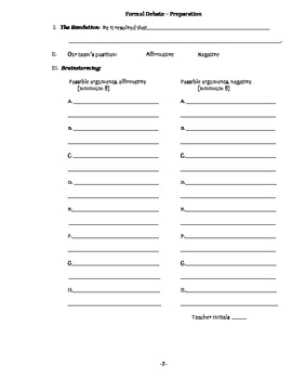 Formal Debate Preparation Template