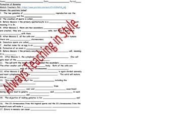 Formation of Gametes Video Worksheet
