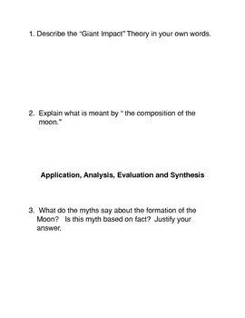 Formation of the Moon Common Core Reading and Writing Activity