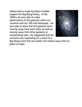 Formation of the Universe Common Core Reading and Writing Activity
