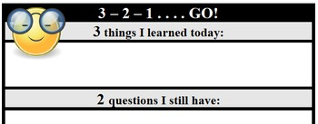 Formative Assessment - 3-2-1 ... Go!