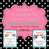 Levels of Understanding Posters & Rubrics | Superhero Classroom Decor Theme