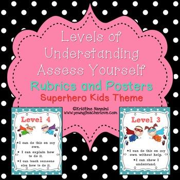 Rubrics resources lesson plans teachers pay teachers levels of understanding posters rubrics superhero classroom decor theme stopboris Image collections