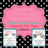Levels of Understanding Posters & Rubrics | Superhero Clas