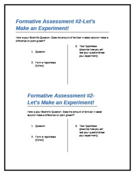Formative Assessment - Applying the Scientific Method to Experimental Design