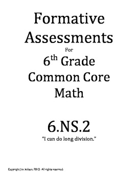 Formative Assessment: CCSS 6.NS.2 Long Division
