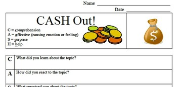 Formative Assessment - Cash Out! - Comprehension Check