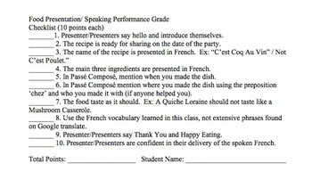 "Formative Assessment Checklist for ""French Food Day"""