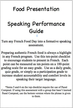"""Formative Assessment Checklist for """"French Food Day"""""""