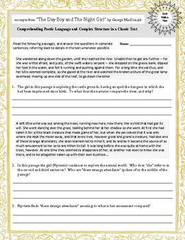 Formative Assessment:  Comprehending Poetic/Complex Language in a Classic Text