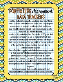 Formative Assessment Data Trackers- 3rd through 5th- Aligned to CCSS