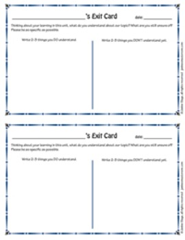 Formative Assessment: Exit Card for Understanding
