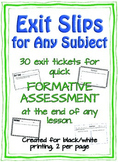 Formative Assessment: Exit Slips for Any Subject, Grades 3-8