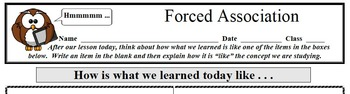 Formative Assessment - Forced Association (2 of 2)