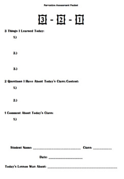 Formative Assessment: Exit Tickets, 3-2-1, and more!