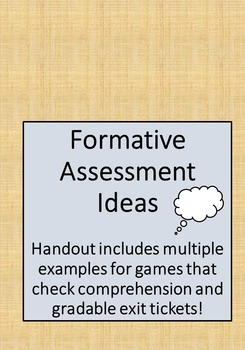 Formative Assessment Ideas - Games, Exit Tickets, and more!