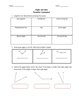 Formative Assessment: Lines and Angles