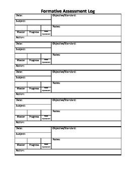 Editable Formative Assessment Log
