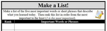 Formative Assessment - Make a List!