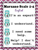 Formative Assessment Marzano Desk Scale 4, 3, 2, 1 English