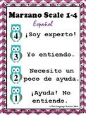 Formative Assessment Marzano Desk Scale 4, 3, 2, 1 Spanish