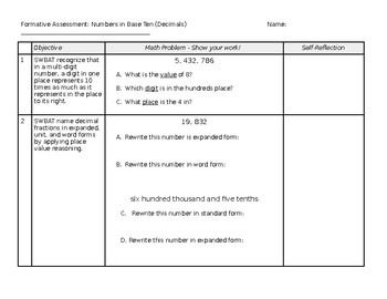 Formative Assessment: Numbers in Base Ten (Decimals)