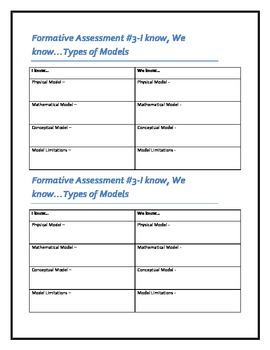 Formative Assessment - Scientific Models