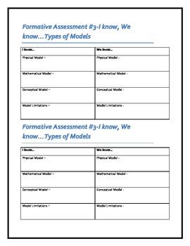 Formative Assessment - Scientific Models