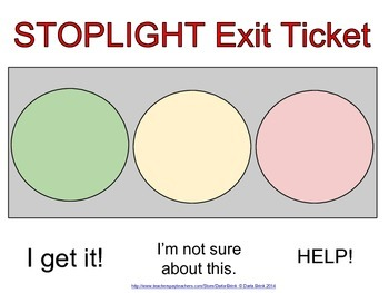 Formative Assessment: Stoplight Exit Ticket