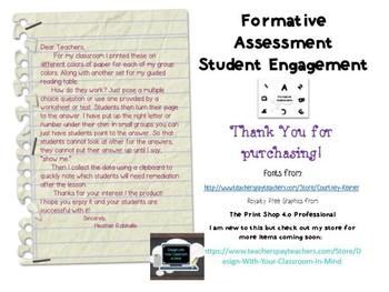Formative Assessment Student Engagement Sheet