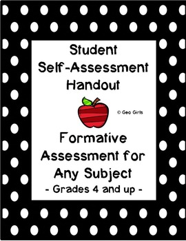 Formative Assessment; Student Self-Assessment; Exit Slip