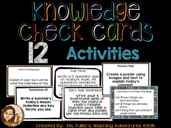 Formative Assessment Task Cards