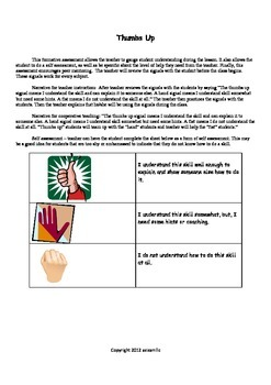 """Formative Assessment """"Thumbs Up"""" Poster, Worksheet, and Te"""