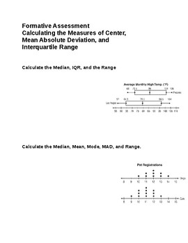 Formative Assessment of Measures of Center, MAD, and IQR
