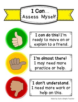 Formative Self-Assessment of Understanding Poster- Thumbs Up /Side /Down
