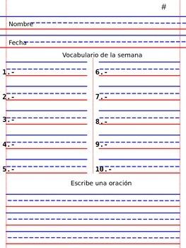 Formato para evaluacion de vocabulario semanal