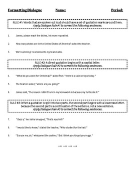 Formatting Dialogue Rules activity