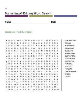 Formatting & Editing Word Search