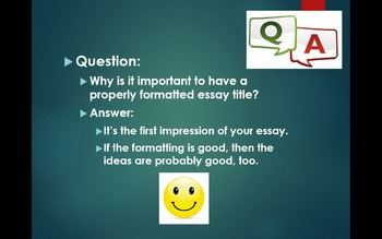 Formatting Essay Titles Lesson with PPT, Worksheet, & Quiz Questions