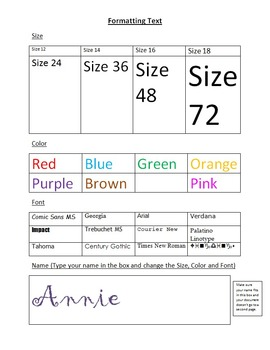 Formatting Font: Size, Color, Style