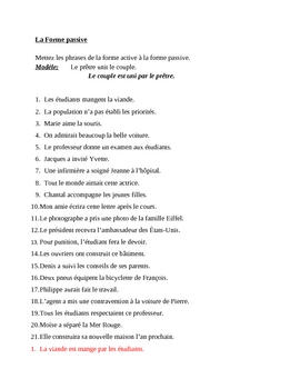 Forme passive (Passive voice in French) worksheet 1