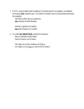 Forme passive (Passive voice in French) notes